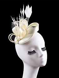 Women Satin Feather Fascinator Hats for Wedding Party Church Beige Black