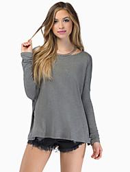 Damen Solide Einfach Lässig/Alltäglich T-shirt,Rundhalsausschnitt Herbst Langarm Rot / Weiß / Schwarz / Grau Baumwolle Undurchsichtig
