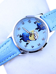 Kid's Minions Pattern Dial PU Band Quartz Cute Cartoon Wrist Watch Cool Watches Unique Watches