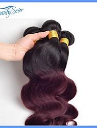 4pcs viel peruanische ombre Haarkörperwelle color1b / 99j peruanisches reines Haar unverarbeitete peruanisches Menschenhaar 7a Original
