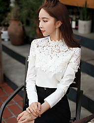 DABUWAWA Women's Casual Lace Stand Slim Long Sleeve Tops & Blouses