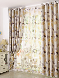 Country Curtains® Two Panels Floral Leaf Jacquard Blackout Curtains Drapes