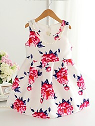 Girl's Fashion Simplicity  Cotton Blend   Fall/Spring  Rosas  Printing Jumper Skirt Princess Dress