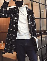 Men's Plaids Casual Coat,Fleece Long Sleeve-Black / Blue