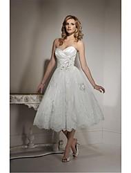 A-line Wedding Dress - White Tea-length Sweetheart Tulle
