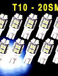 10 pcs xénon blanc coin T10 20 LED SMD ampoules W5W lumière 2825 158 192 168 194 12v