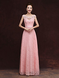 Floor-length Tulle Bridesmaid Dress - Sheath / Column Scoop with Appliques