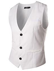 Men's Sleeveless Vest , Cotton Blend Casual Pure Vest