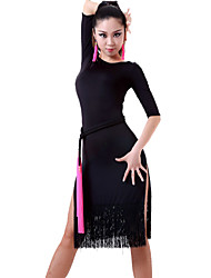Latin Dance Dresses&Skirts Women's Performance Chinlon Tassel(s) 1 Piece(Not With Waist Belt) Black