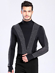 Latin Dance Tops Men's Performance Training Spandex Buttons 1 Piece Long Sleeve Top M :61  L :64   XL :66