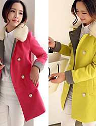 Bella Women's Solid Color Red / Yellow Coats & Jackets , Casual V-Neck Long Sleeve