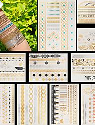 10pcs Wings Hearts Flowers Temporary Gold Silver Flash Metallic Tattoos Sticker Bracelet Necklace Jewelry Waterproof