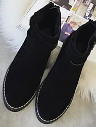 Women's Shoes Fur Winter Combat Boots Outdoor / Casual Flat Heel Black / Beige