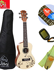 Jimi®Spruce Wood Color Beach Concert Ukulele+Backage+Strap+Tuner+Pick Suit