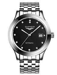homens guanqin auto-liquidação relógio calendário 100m diamante impermeável relógio de aço 40 milímetros de cristal pulso automático