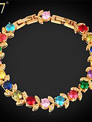 U7® Women's Adjustable Gold Bracelet Platinum/18K Gold Plated Colorful Cubic Zirconia Flowers Charm Bracelet
