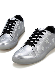 homens levaram o carregamento ao ar livre / atlético / ocasional sapatilhas da forma sintéticas sapatos usb preto / prata / ouro