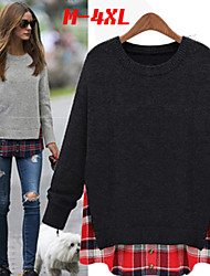 Big girl Women's Color Block Gray Tops & Blouses , Casual Round Long Sleeve