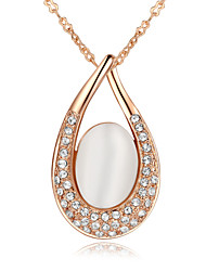 HKTC Elegant Bridal Jewelry 18k Rose Gold Plated Opal Stone Waterdrop Pendant Necklace