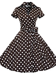 Classic & Traditional Lolita Short Sleeve Medium Length Brown Cotton Lolita Dress