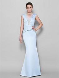 Floor-length Lace / Satin Bridesmaid Dress Trumpet/Mermaid V-neck