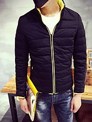 Men's Regular Down Coat , Others Pure Long Sleeve