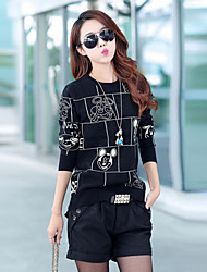 Women's Korean  Fashion Round Collar Long Sleeve Kintted Sweater, Bottoming Kintted Sweater with Mickey Mouse Pattern