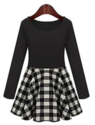 A-plus Women's Check Black Dresses , Casual Round Long Sleeve