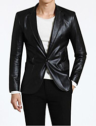 Men's Solid Casual / Formal Blazer,PU Long Sleeve Black