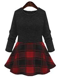 Plus Sizes Women's Round Neck Long Sleeve Tops Knitting Stitching Plaid Bottoming Mini Skirt