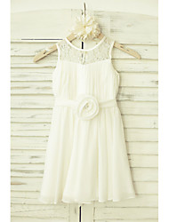 A-Line Knee Length Flower Girl Dress - Chiffon Lace Sleeveless Scoop Neck with Flower