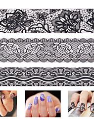 1PCS 3D Black White Lace Nail Sticker