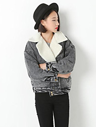Women's Solid Black Cotton / Denim Jacket , Vintage / Casual / Cute