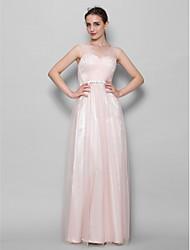 Lanting Невеста В пол Тюль Платье для подружек невесты А-силуэт V-образный вырез с Бусины / Перекрещивание