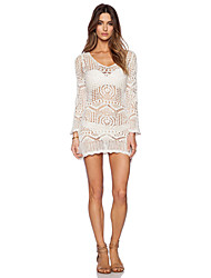 Women's Lace White Dress , Sexy / Beach Round Neck Long Sleeve