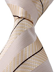 Beige Black Yellow Jacquard Necktie Men Business Suit Tie