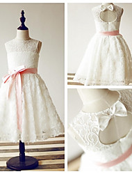 Princess Tea-length Flower Girl Dress - Lace/Satin Sleeveless