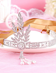 Bride's Leaves Rhinestone Imitation Pearl Forehead Wedding Headbands 1 PC