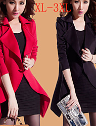 perfect Women's Solid Color Red / Black Coats & Jackets , Sexy / Casual / Work Tailored Collar Long Sleeve