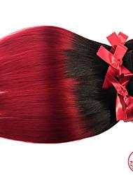 """evet um monte peça 8 """"-28"""" # # 1BT Borgonha grau 7a peruano cabelo virgem reto de seda tece twotone extensões de cabelo ombre"""