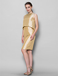 Knee-length Taffeta Bridesmaid Dress Sheath / Column Bateau with