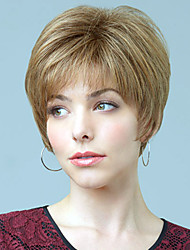"Ultrashort Straight Human Virgin Remy Hair Monofilament Top(1"") Female Capless Wig"