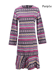 Women's Color Block Pink / Red / Purple Dresses , Casual Round Long Sleeve