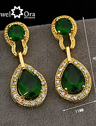Wholesale Women Jewelry Drop Earrings Crystal Vivid Green Cz Amethyst Crystal Earrings