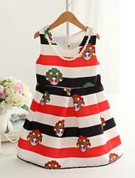 Vestido Chica de - Primavera / Otoño - Algodón / Mezcla de Algodón - Rojo