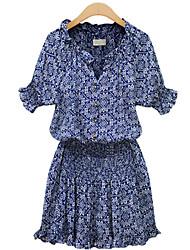 Women's V Neck  Casual Short Sleeve Dress