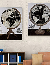 E-Home® Leinwand Kunst Globus Dekoration Malerei Satz 2