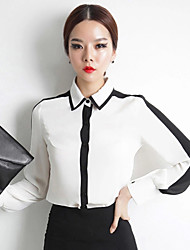 Women's Patchwork White Blouse , Shirt Collar Long Sleeve
