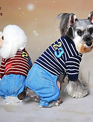 Dog Clothes/Jumpsuit Red Blue Gray Dog Clothes Winter Spring/Fall Jeans Cowboy Fashion
