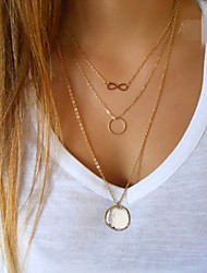 Women's Gold Plated Simple Metal Pendant 3 Layer Multilayer Chain Bar Necklace